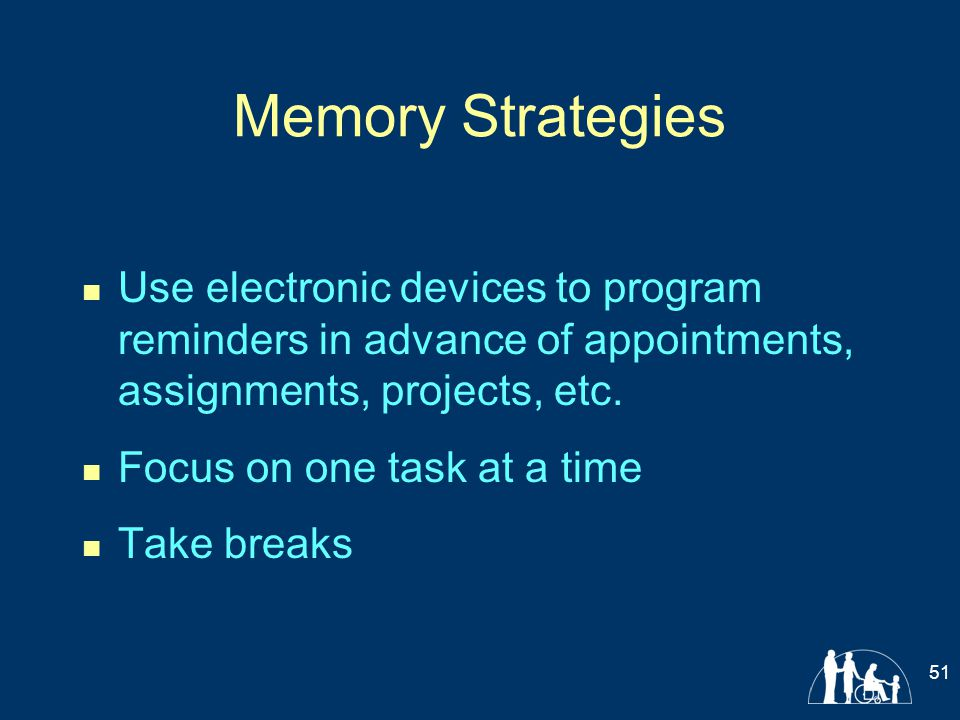 Memory Strategies Use electronic devices to program reminders in advance of appointments, assignments, projects, etc.