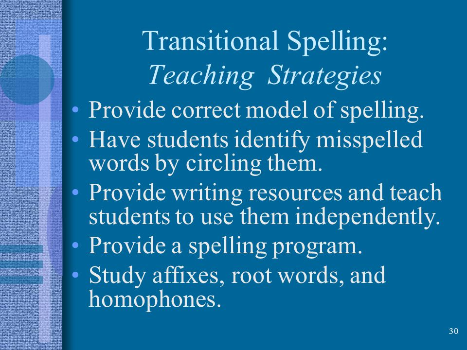 Transitional Spelling: Teaching Strategies