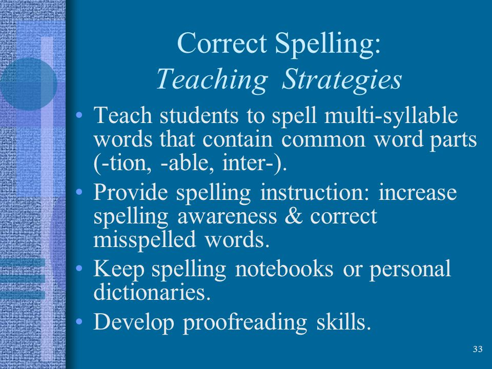 Correct Spelling: Teaching Strategies