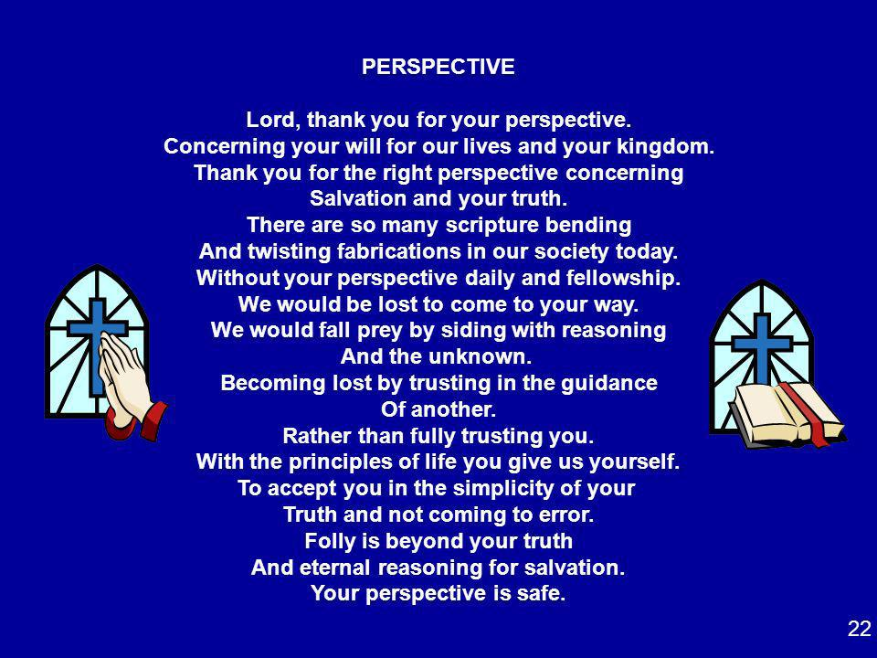 Lord, thank you for your perspective.