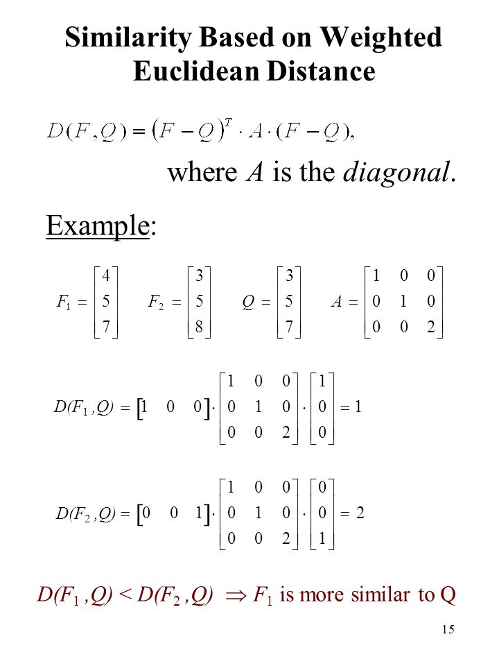 Similarity Based on Weighted Euclidean Distance
