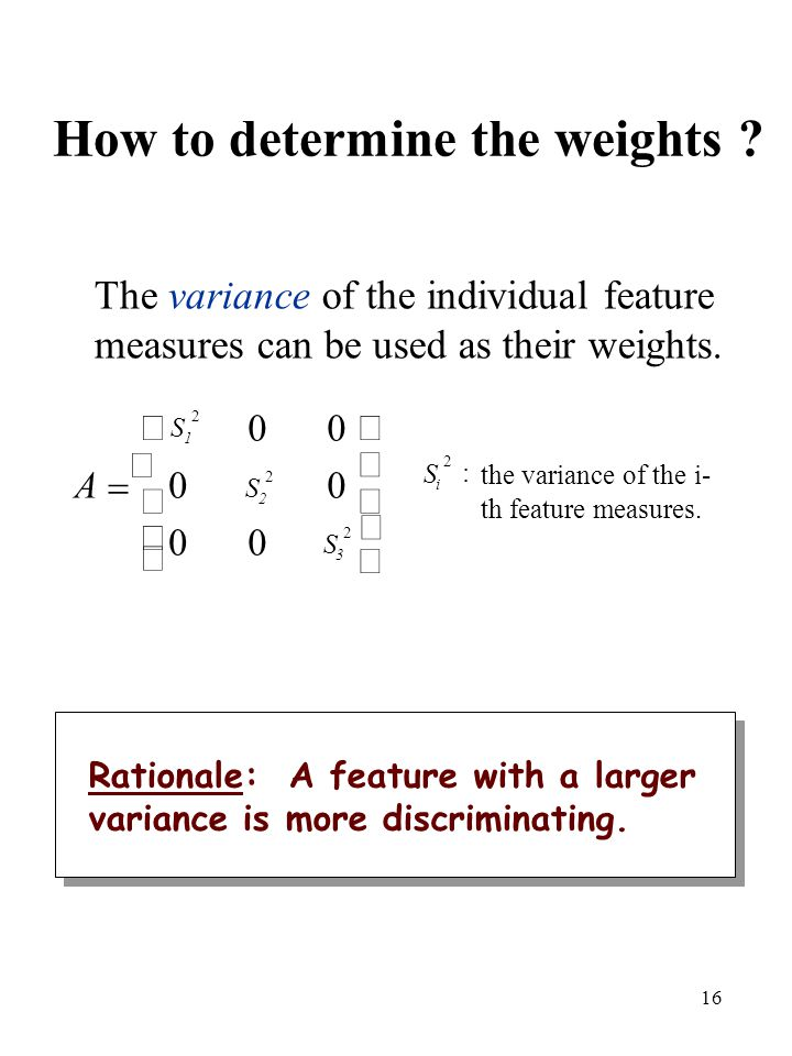 How to determine the weights