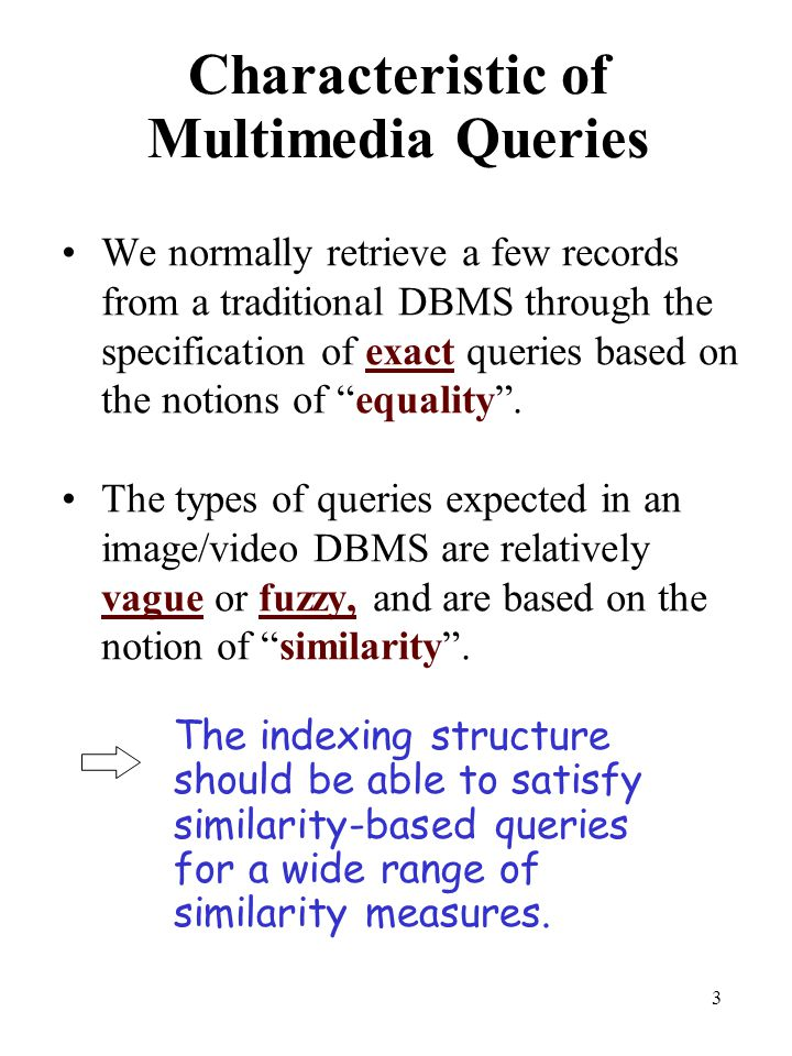 Characteristic of Multimedia Queries