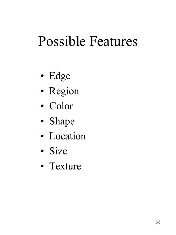Possible Features Edge Region Color Shape Location Size Texture
