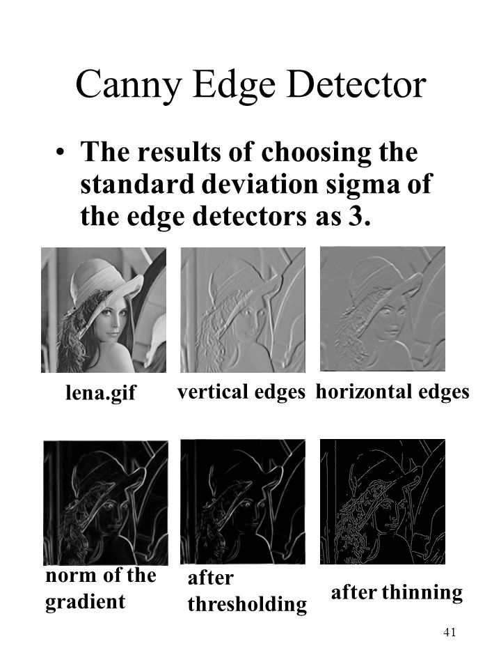 Canny Edge Detector The results of choosing the standard deviation sigma of the edge detectors as 3.