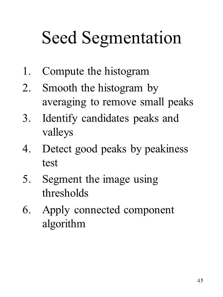 Seed Segmentation Compute the histogram