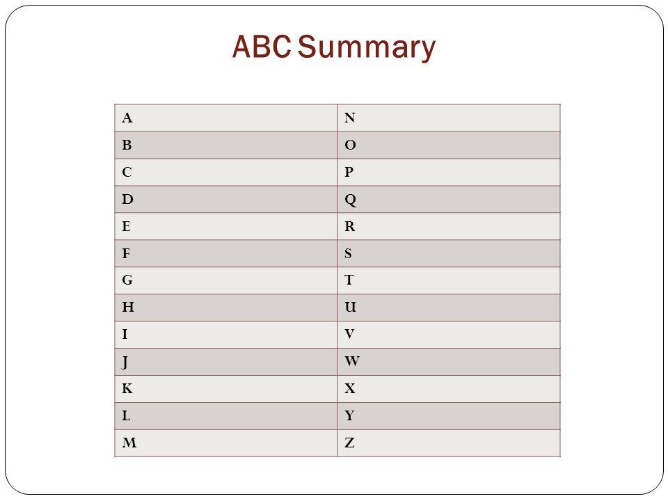 ABC Summary A N B O C P D Q E R F S G T H U I V J W K X L Y M Z