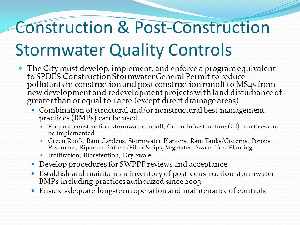 Construction & Post-Construction Stormwater Quality Controls