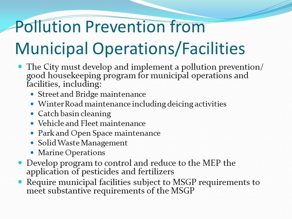 Pollution Prevention from Municipal Operations/Facilities