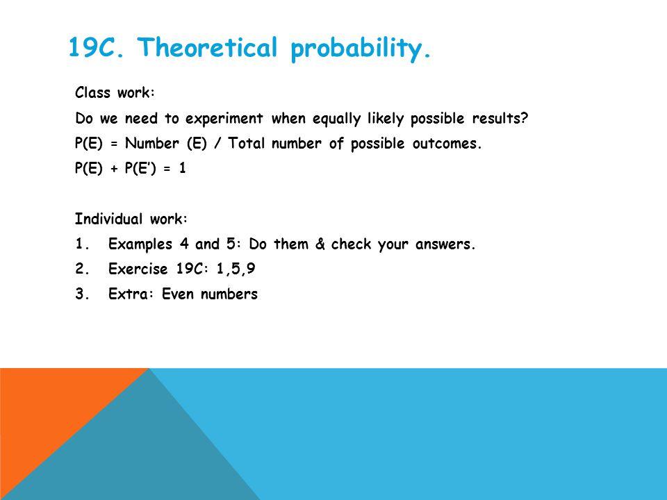 19C. Theoretical probability.