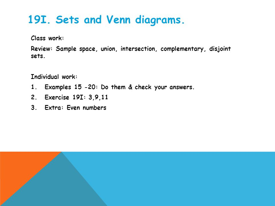 19I. Sets and Venn diagrams.