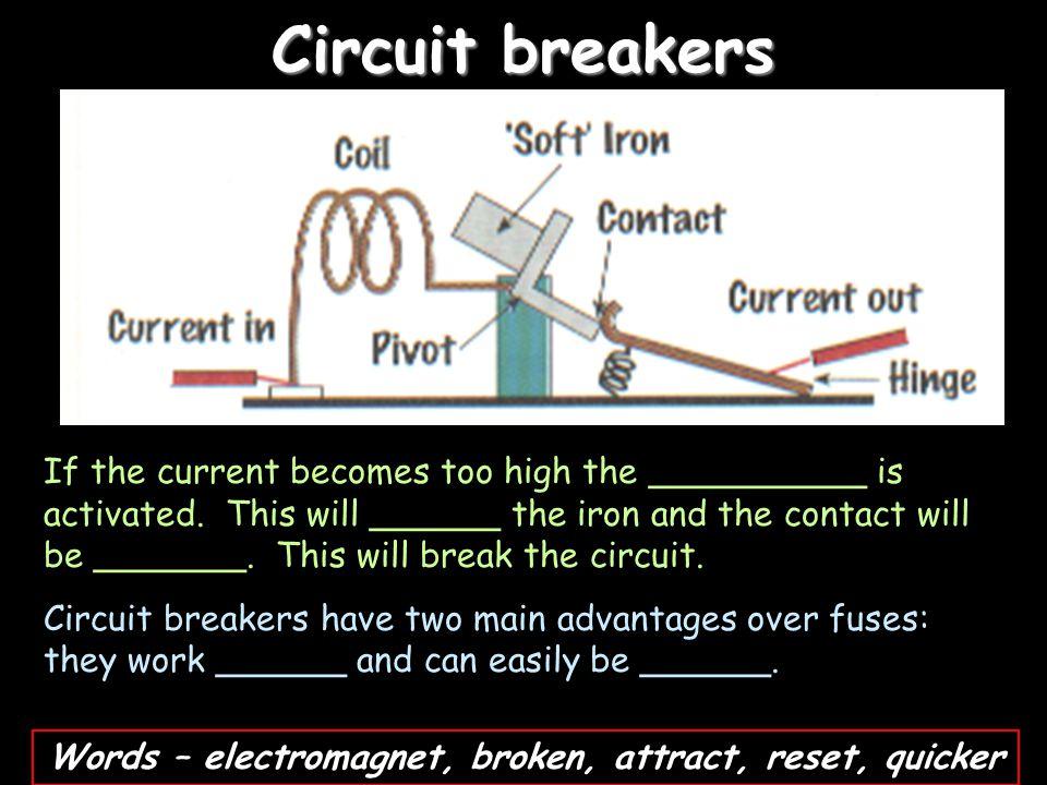 Words – electromagnet, broken, attract, reset, quicker