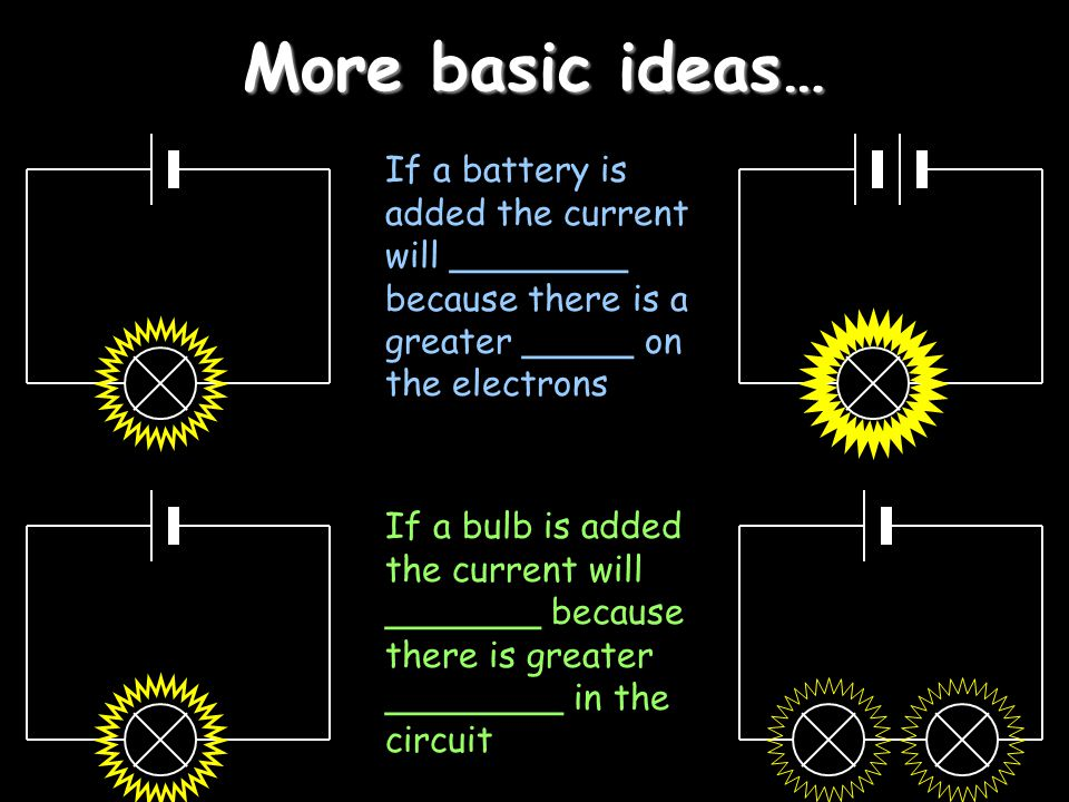 More basic ideas… If a battery is added the current will ________ because there is a greater _____ on the electrons.