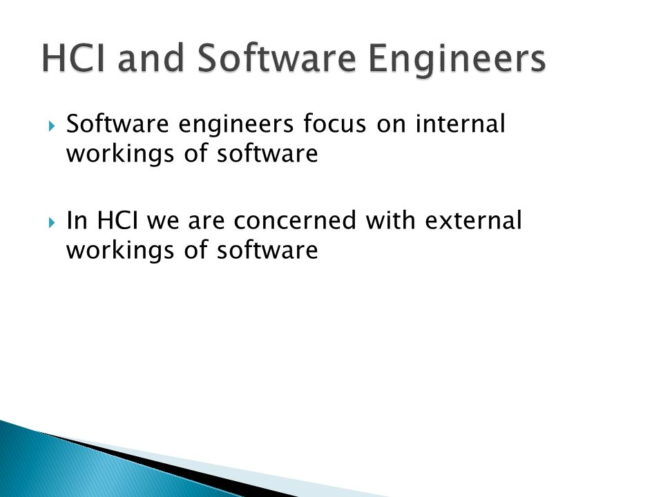 HCI and Software Engineers