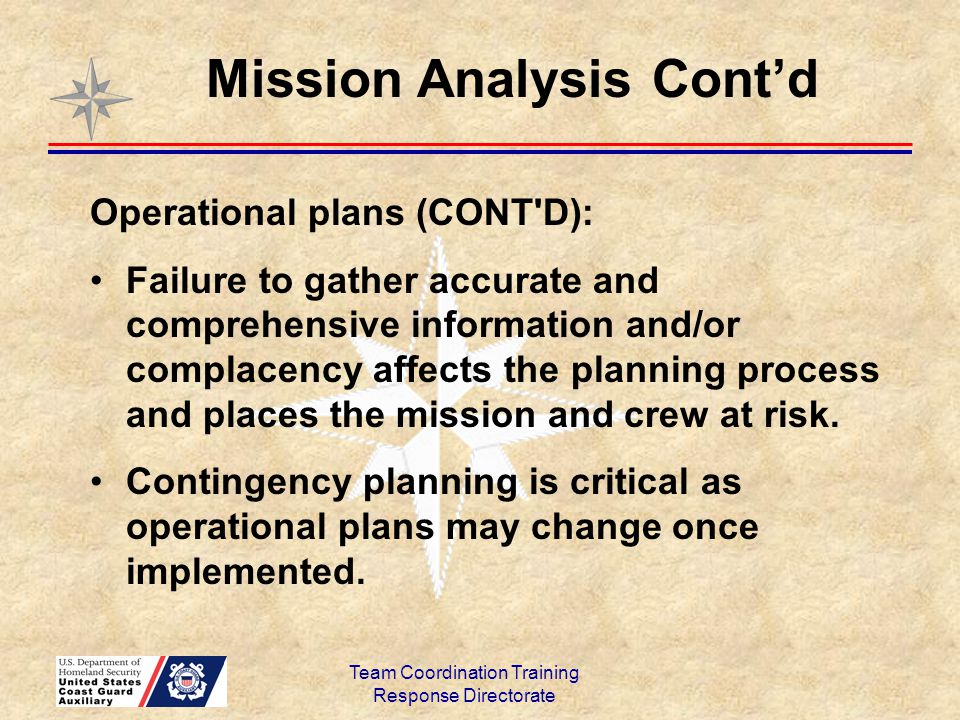 Mission Analysis Cont'd