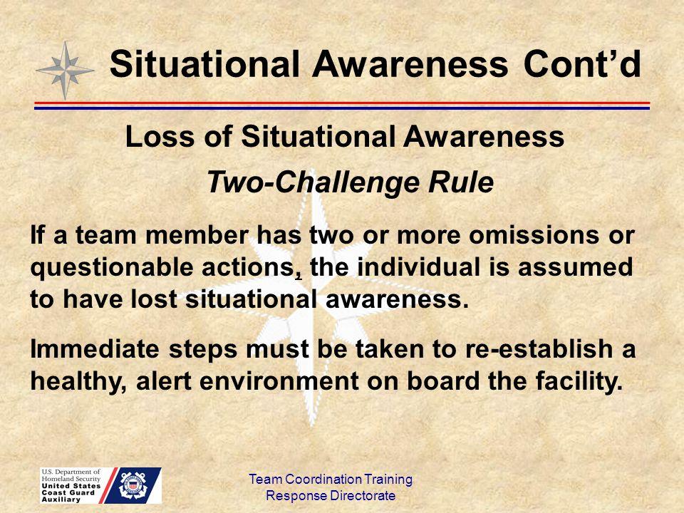 Situational Awareness Cont'd Loss of Situational Awareness