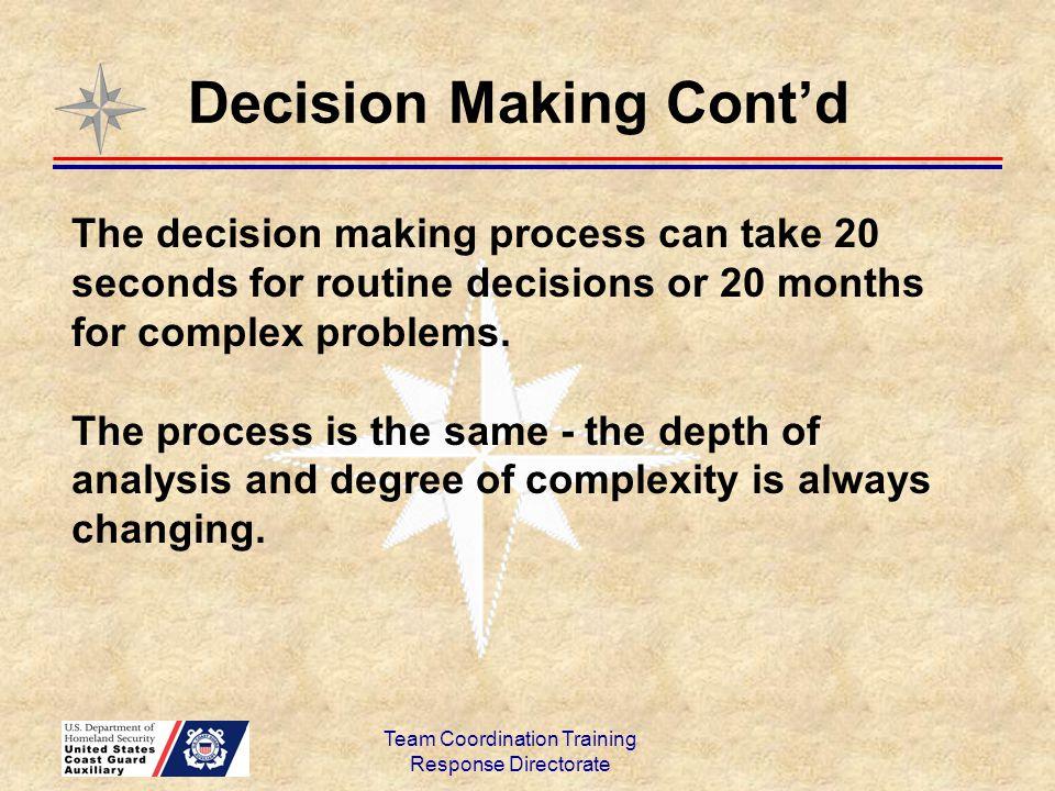 Decision Making Cont'd