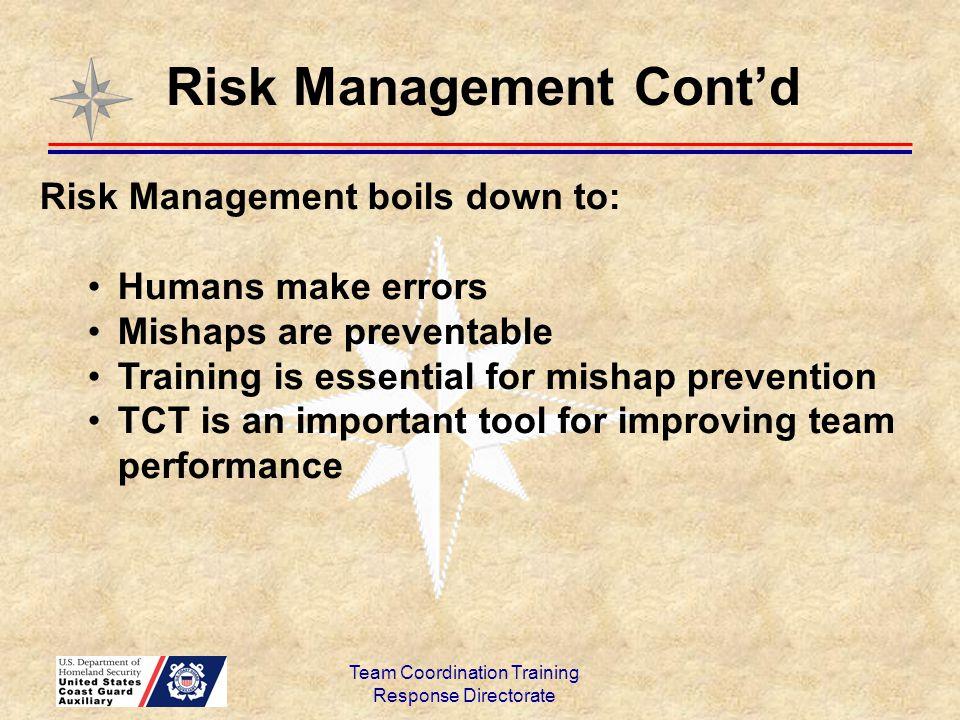 Risk Management Cont'd