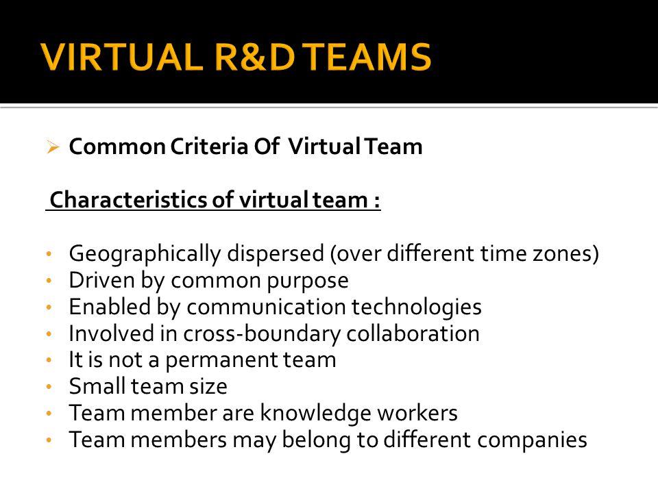 VIRTUAL R&D TEAMS Common Criteria Of Virtual Team