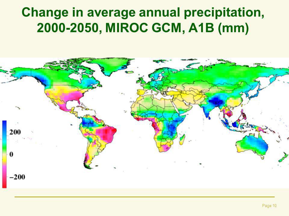 Change in average annual precipitation, 2000-2050, MIROC GCM, A1B (mm)