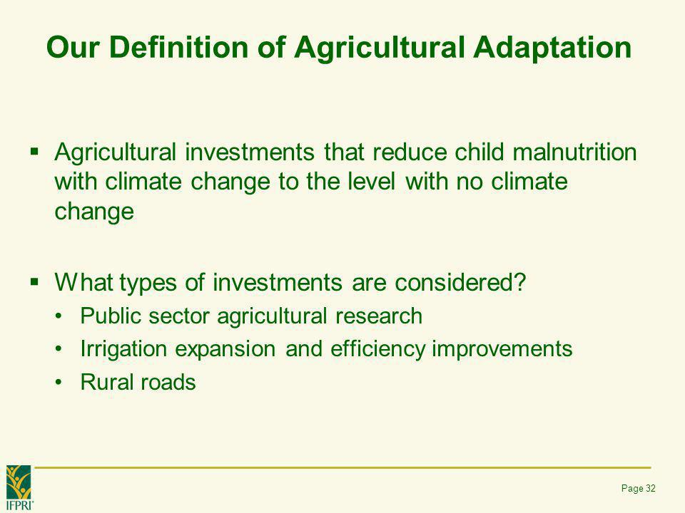 Our Definition of Agricultural Adaptation