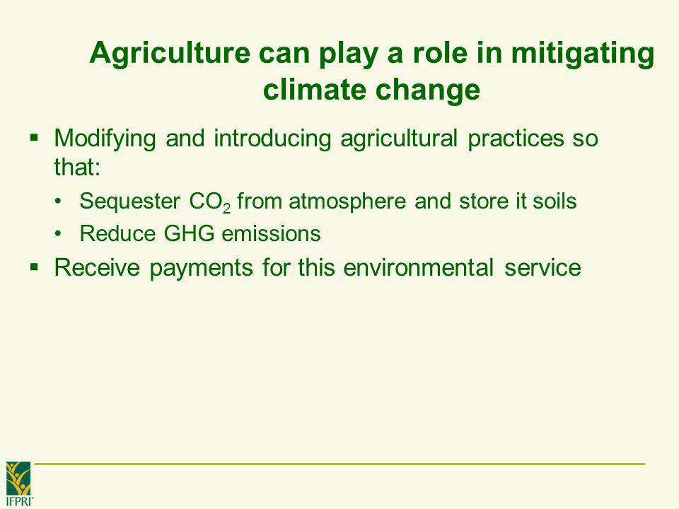 Agriculture can play a role in mitigating climate change