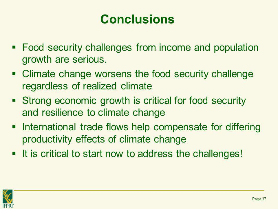 Conclusions Food security challenges from income and population growth are serious.