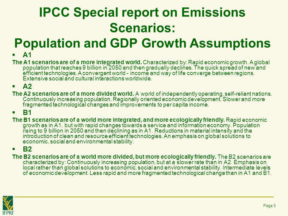 IPCC Special report on Emissions Scenarios: Population and GDP Growth Assumptions