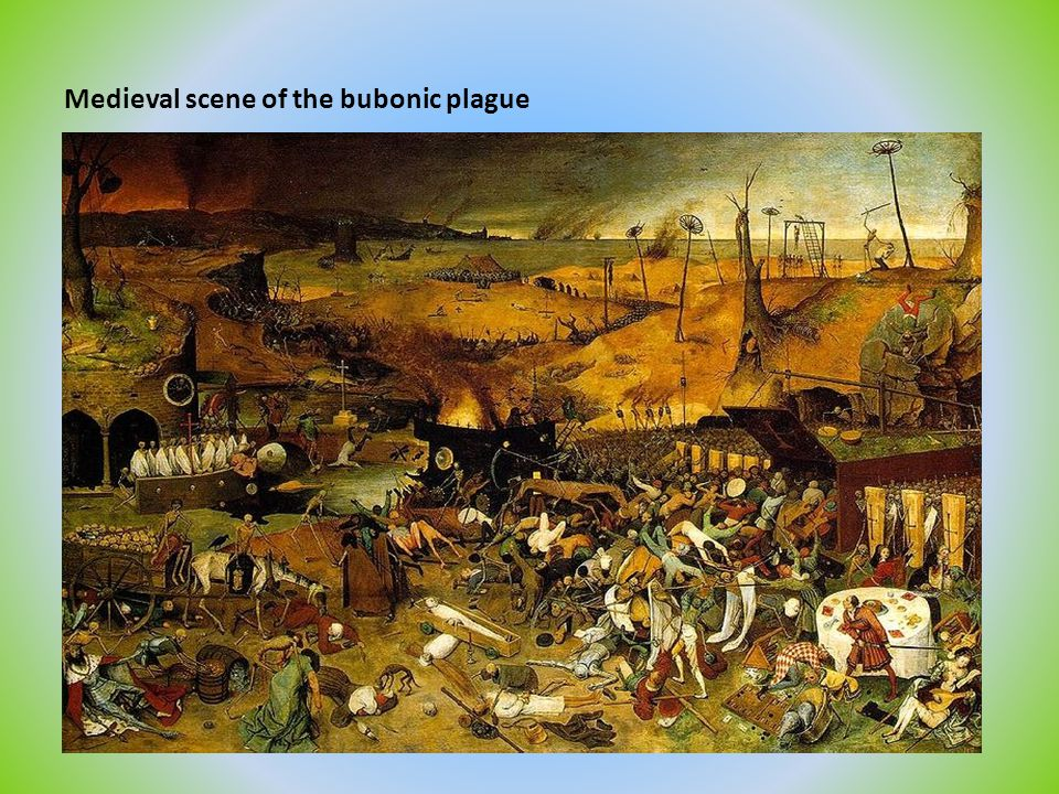 Medieval scene of the bubonic plague
