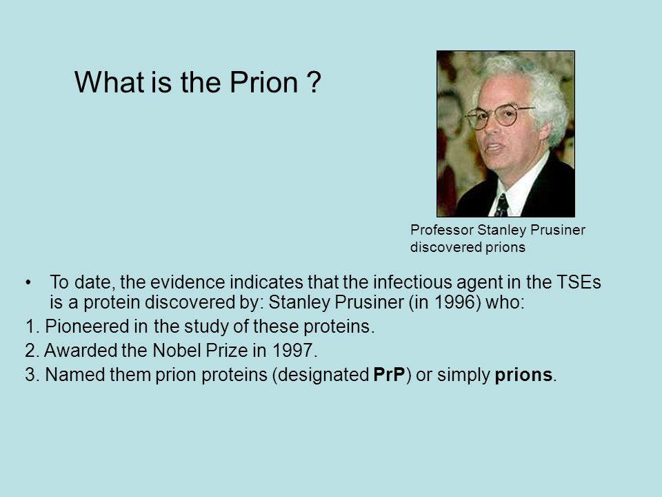 What is the Prion Professor Stanley Prusiner discovered prions.