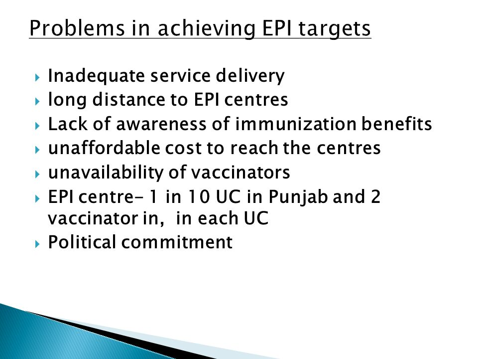 Problems in achieving EPI targets