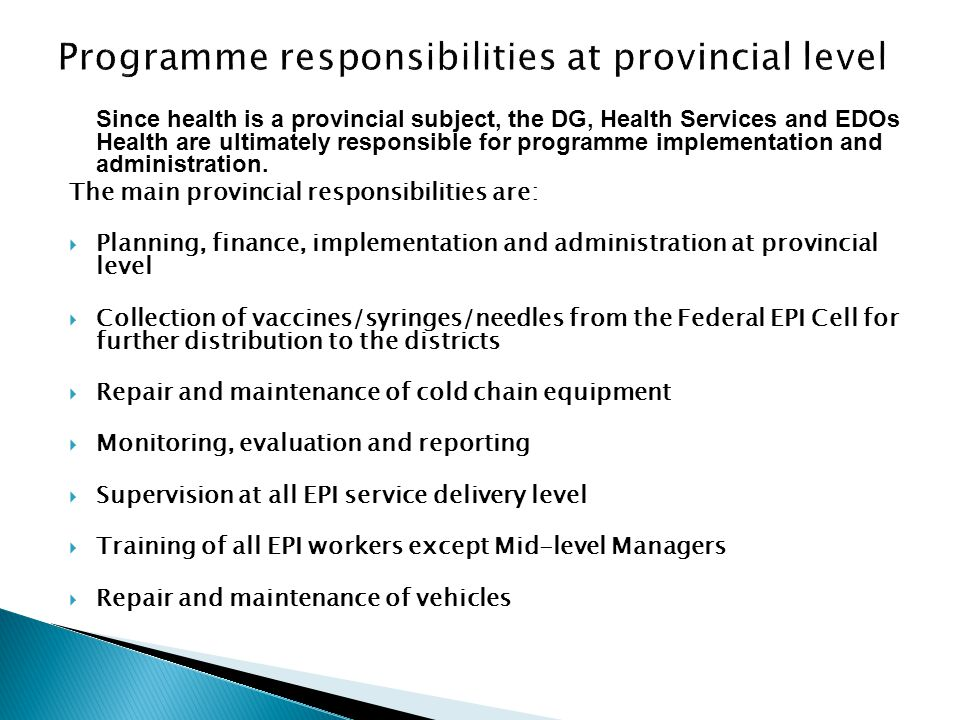Programme responsibilities at provincial level