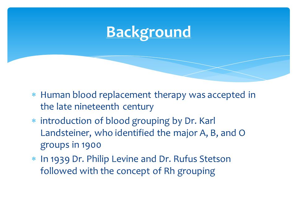 Background Human blood replacement therapy was accepted in the late nineteenth century.