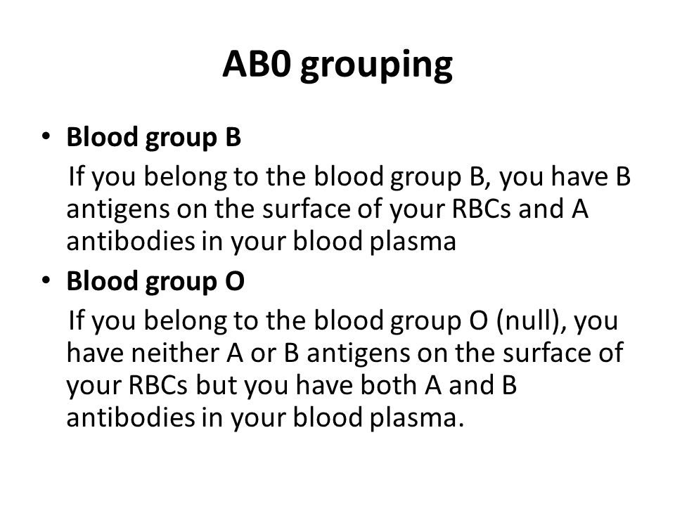 AB0 grouping Blood group B