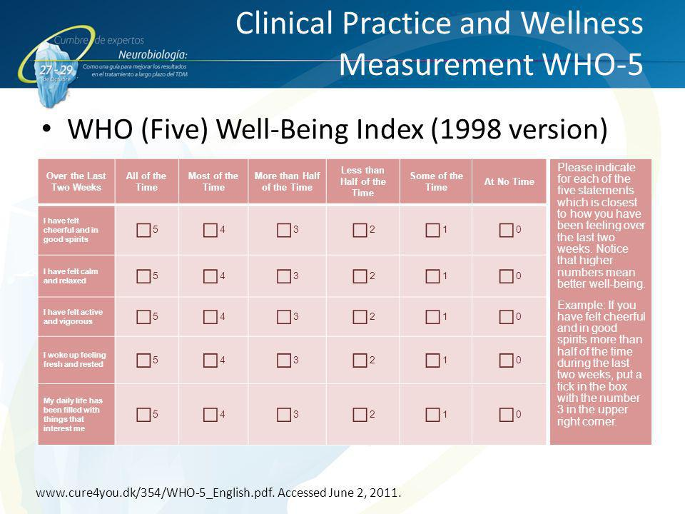 Clinical Practice and Wellness Measurement WHO-5