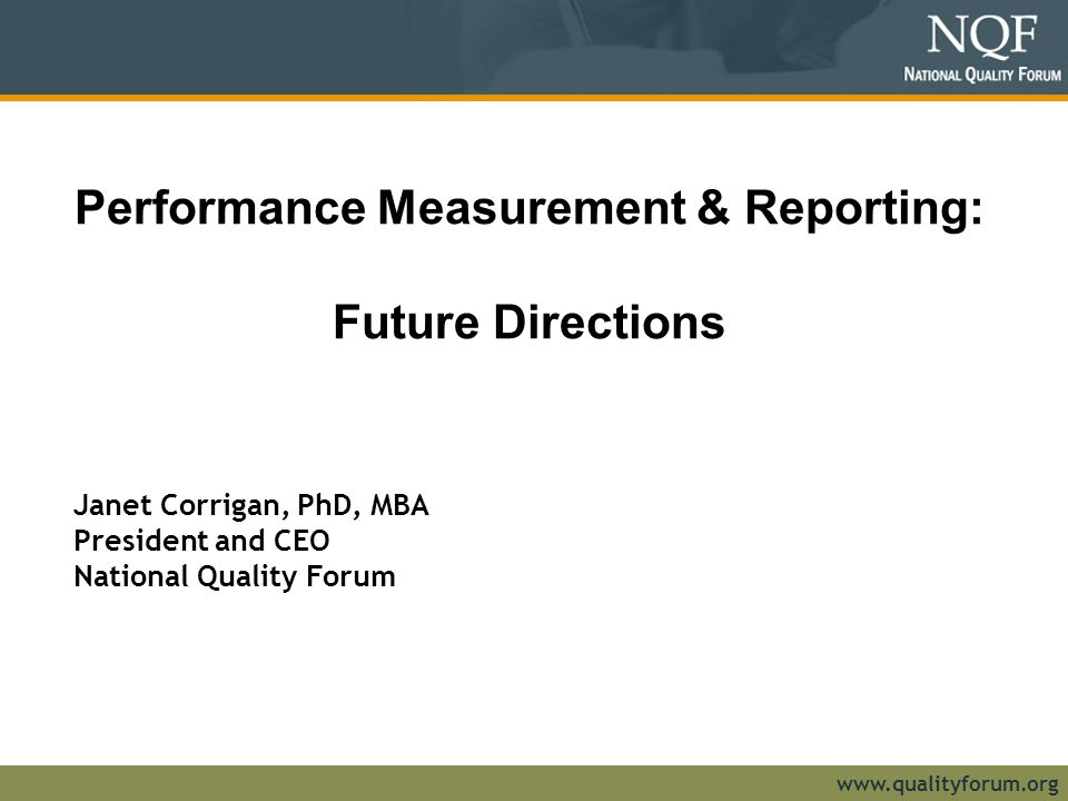 Performance Measurement & Reporting: