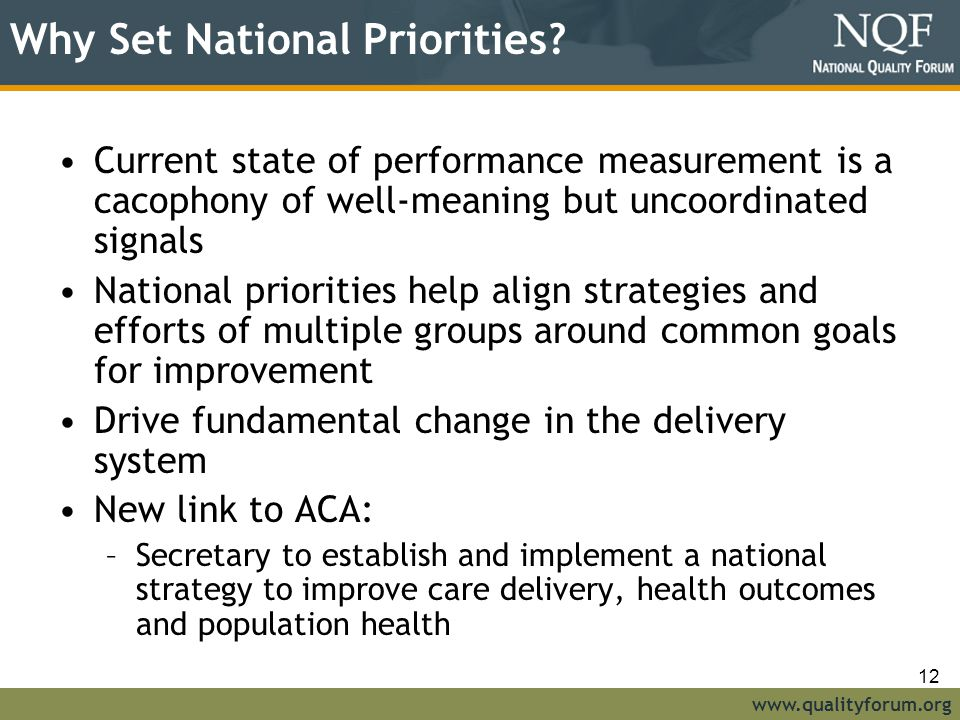Why Set National Priorities