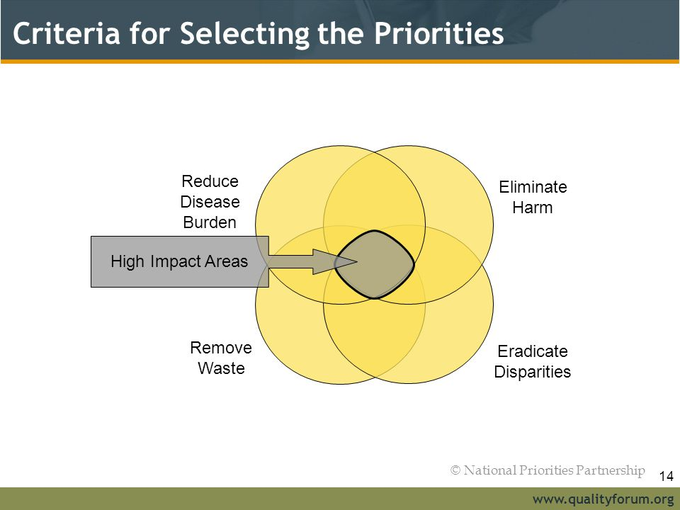 Criteria for Selecting the Priorities