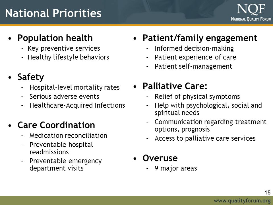 National Priorities Population health Safety Care Coordination