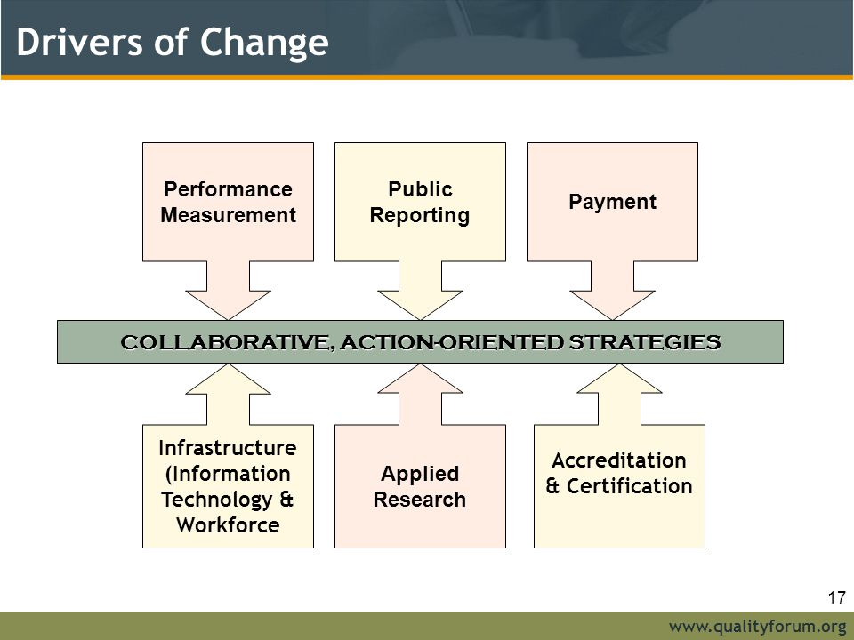 Drivers of Change Performance Measurement Public Reporting Payment