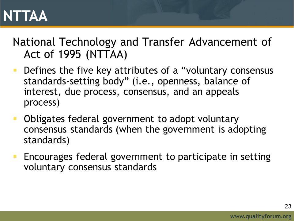 NTTAA NTTAA. National Technology and Transfer Advancement of Act of 1995 (NTTAA)