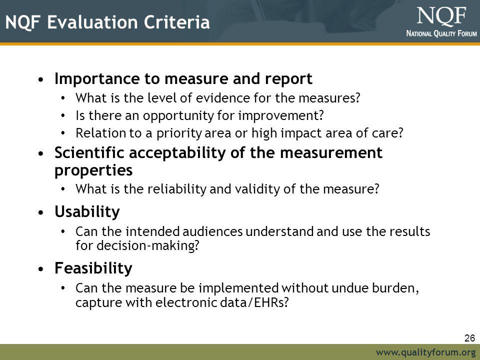 NQF Evaluation Criteria