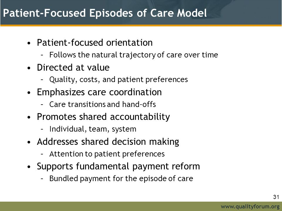 Patient-Focused Episodes of Care Model