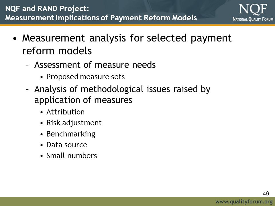 Measurement analysis for selected payment reform models