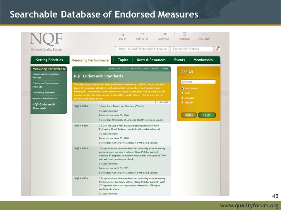 Searchable Database of Endorsed Measures