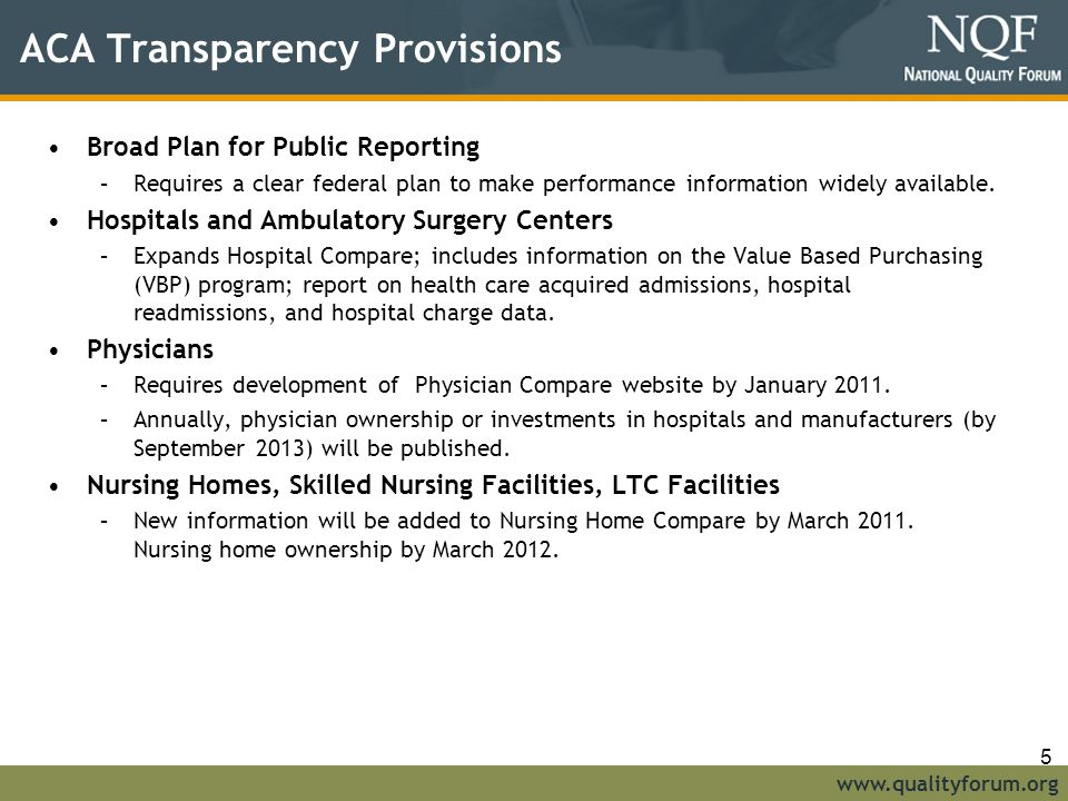 ACA Transparency Provisions