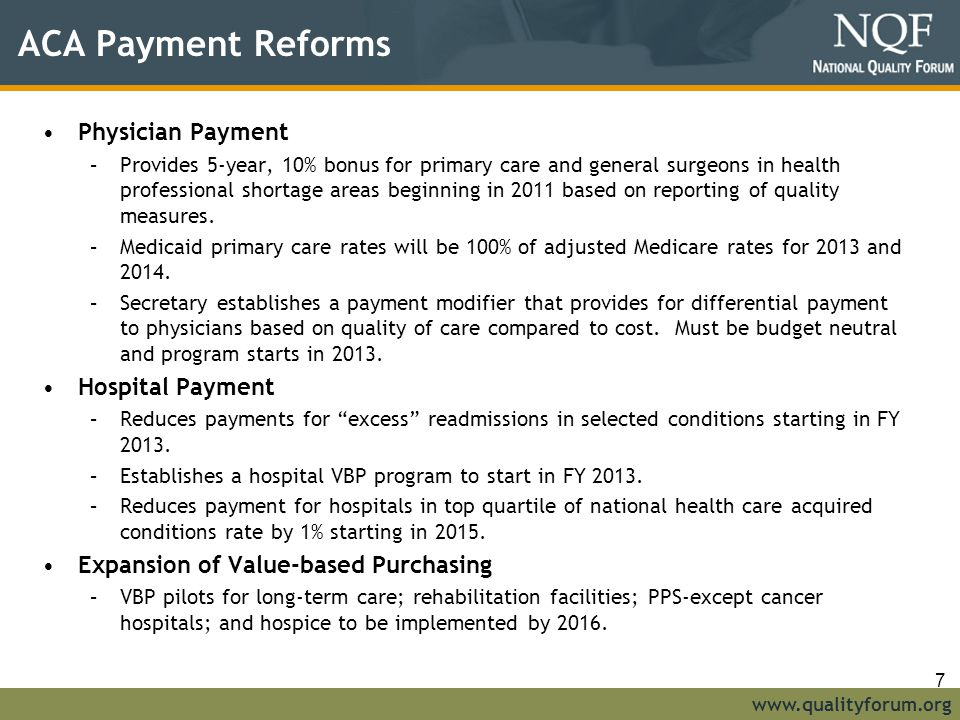 ACA Payment Reforms Physician Payment Hospital Payment