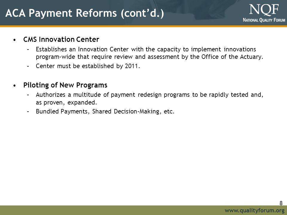 ACA Payment Reforms (cont'd.)
