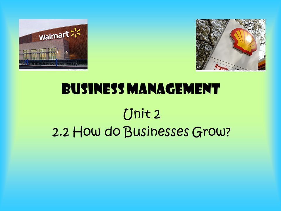 Unit 2 2.2 How do Businesses Grow