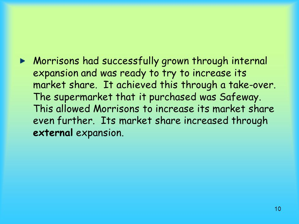 Morrisons had successfully grown through internal expansion and was ready to try to increase its market share.